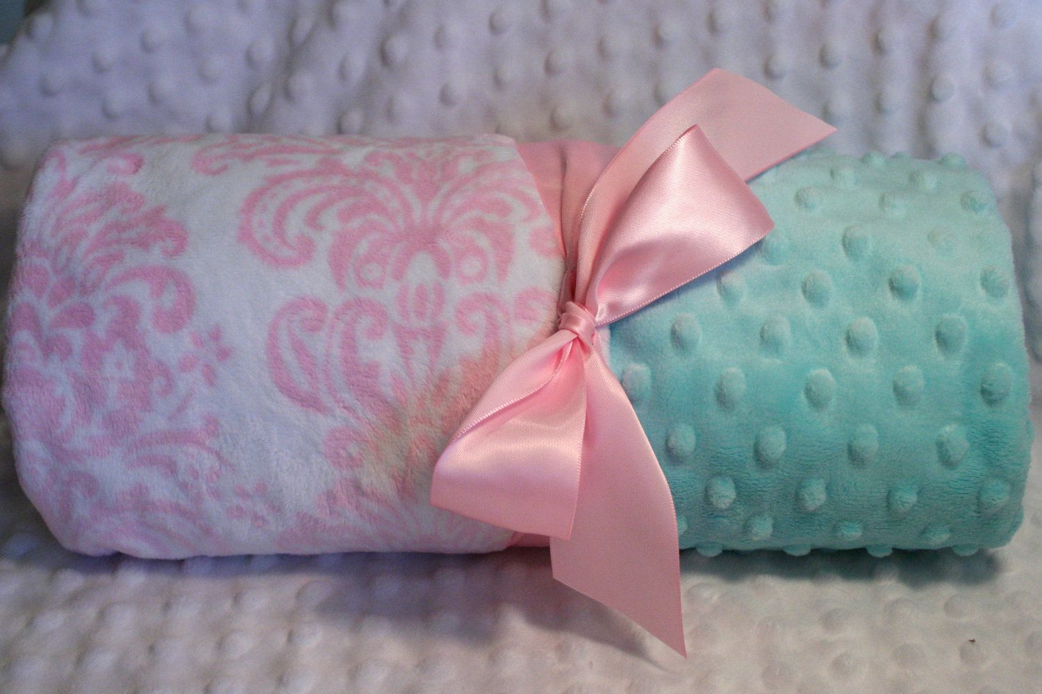 Minky Baby Blanket - Aqua / Tiffany Blue / Turquoise with Pink ...
