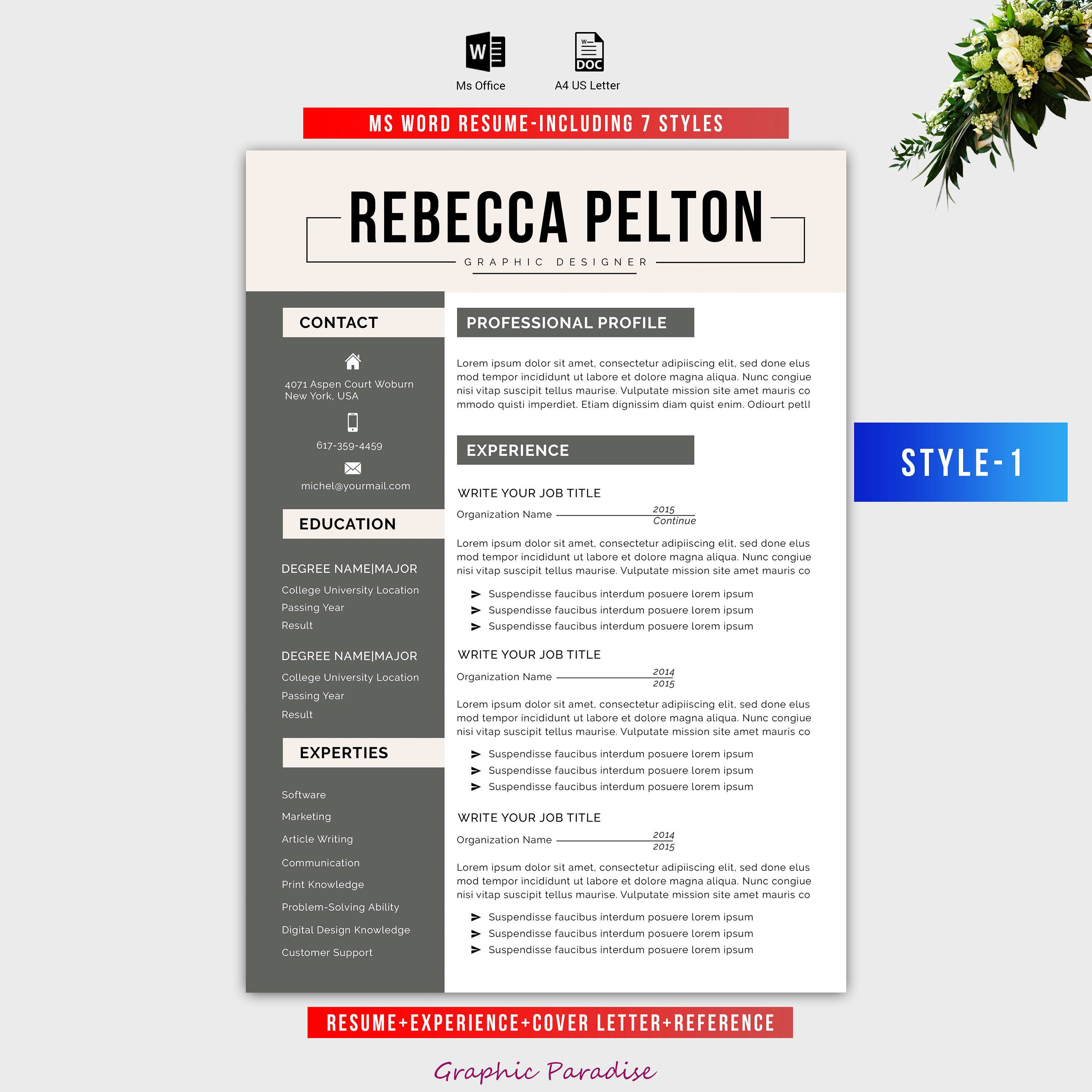 7 Style Resume template|Professional resume template|Resume template ...