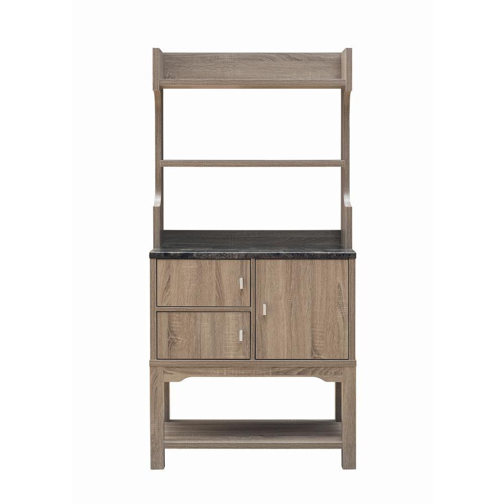 Furniture Of America Grider Taupe Baker Rack Double Door Brown