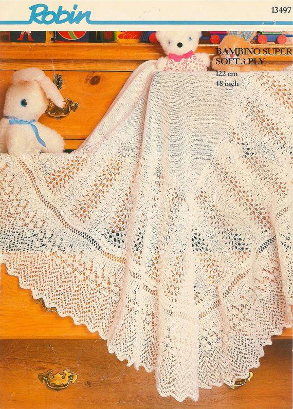 Vintage knitting pattern baby blanket afghan pram cover throw ...