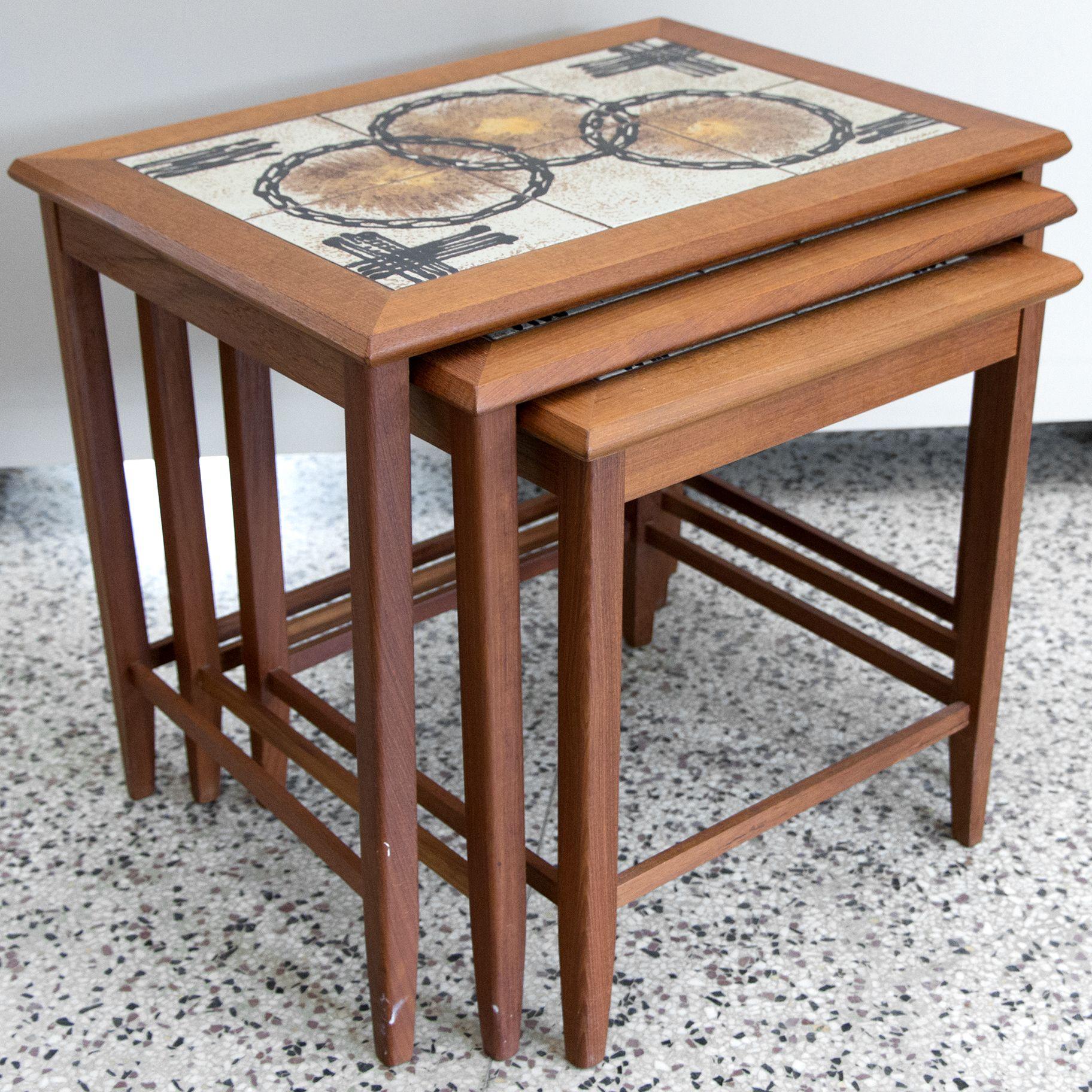 Toften Danish Modern Teak Nesting Tables, Circa 1960. Each One Has A  Handmade Tile