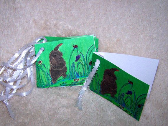 Black Bunny Party  Gift Tags by Marie by mariesimagination on Etsy, $10.00