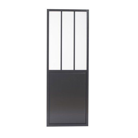 Porte coulissante aluminium gris foncé, verre trempé Atelier ARTENS