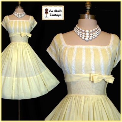Vintage 50s Lemon Cotton Voile Shelf Bust Party Dress 135