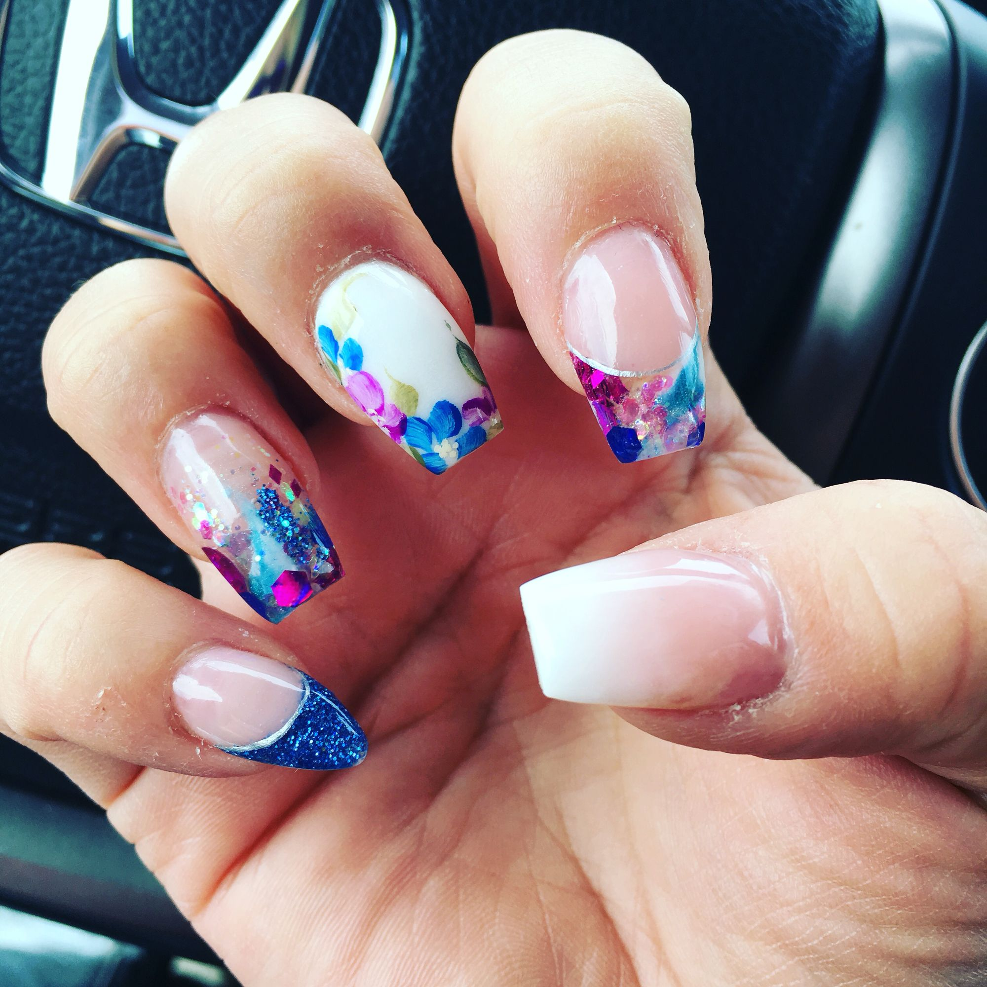 Coffin Free Hand Ombre Thumb Stiletto Pinky Nails By Bela Nails Pinky Thumb