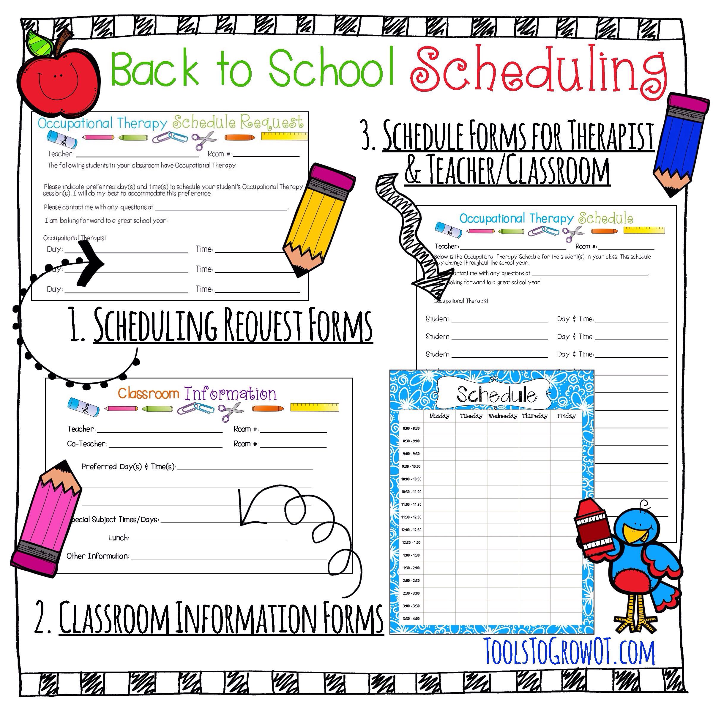 Back To School Scheduling Forms For Occupational Therapy
