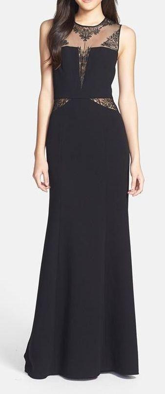 BCBGMAXAZRIA Lace Inset Crepe Gown