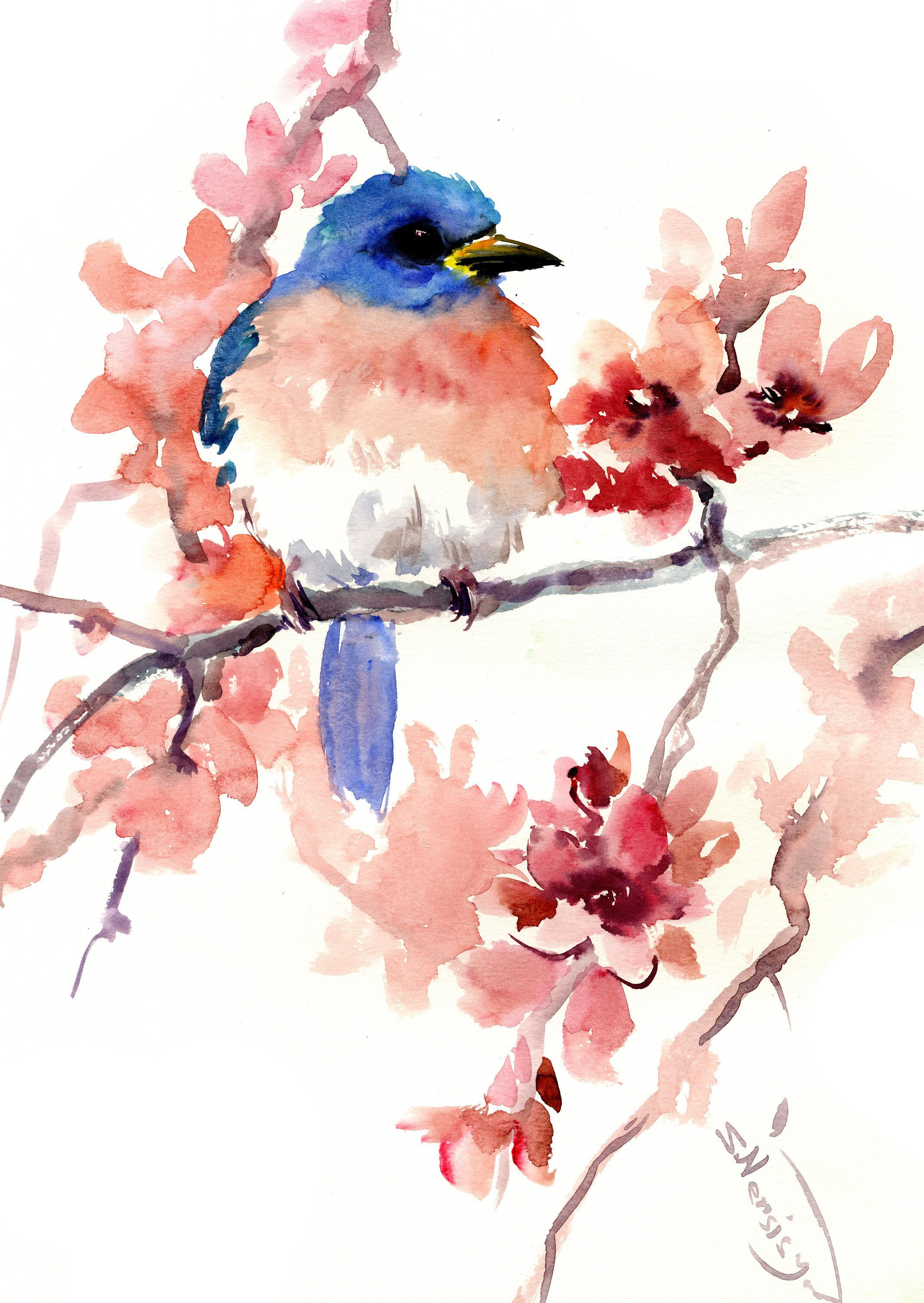 Bluebird And Spring Flowers Original Watercolor Paintingyellow