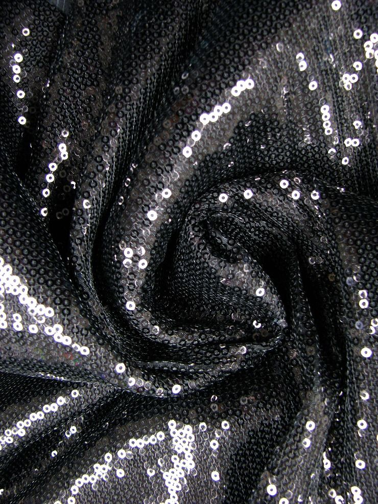 Polyester with 5 mm Pailletes Sequins 57/58  Wide Fabric
