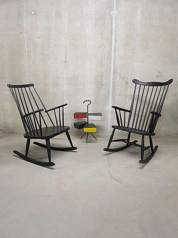 Vintage Schommelstoel Te Koop.Vintage Spijlen Schommelstoel Mid Century Scandivian Rocking Chair