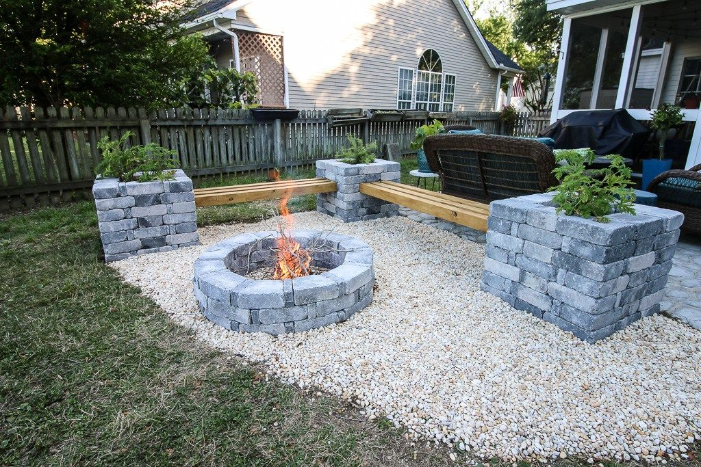 our hardscape benches fire pit with the home depot on best large backyard ideas with attractive fire pit on a budget id=97907