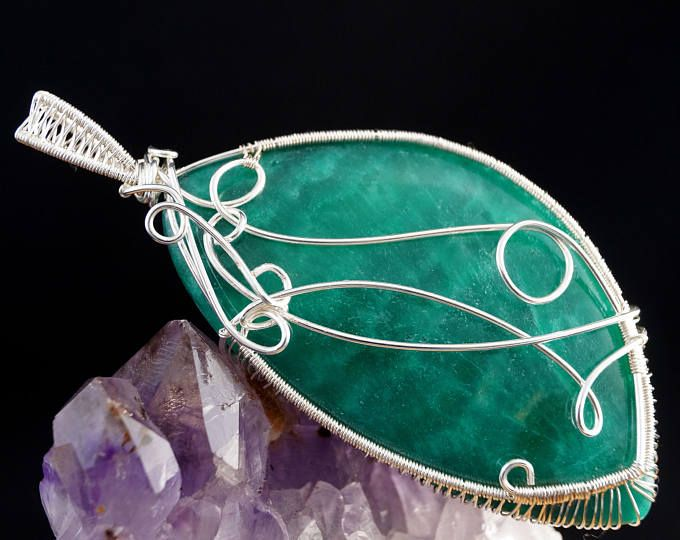 Green Chalcedony pendant wrapped in silver plated copper wire / wire ...