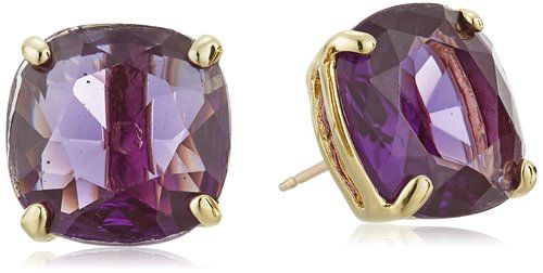 Kate Spade New York Small Square Amethyst Colored Stud Earrings Jewelry