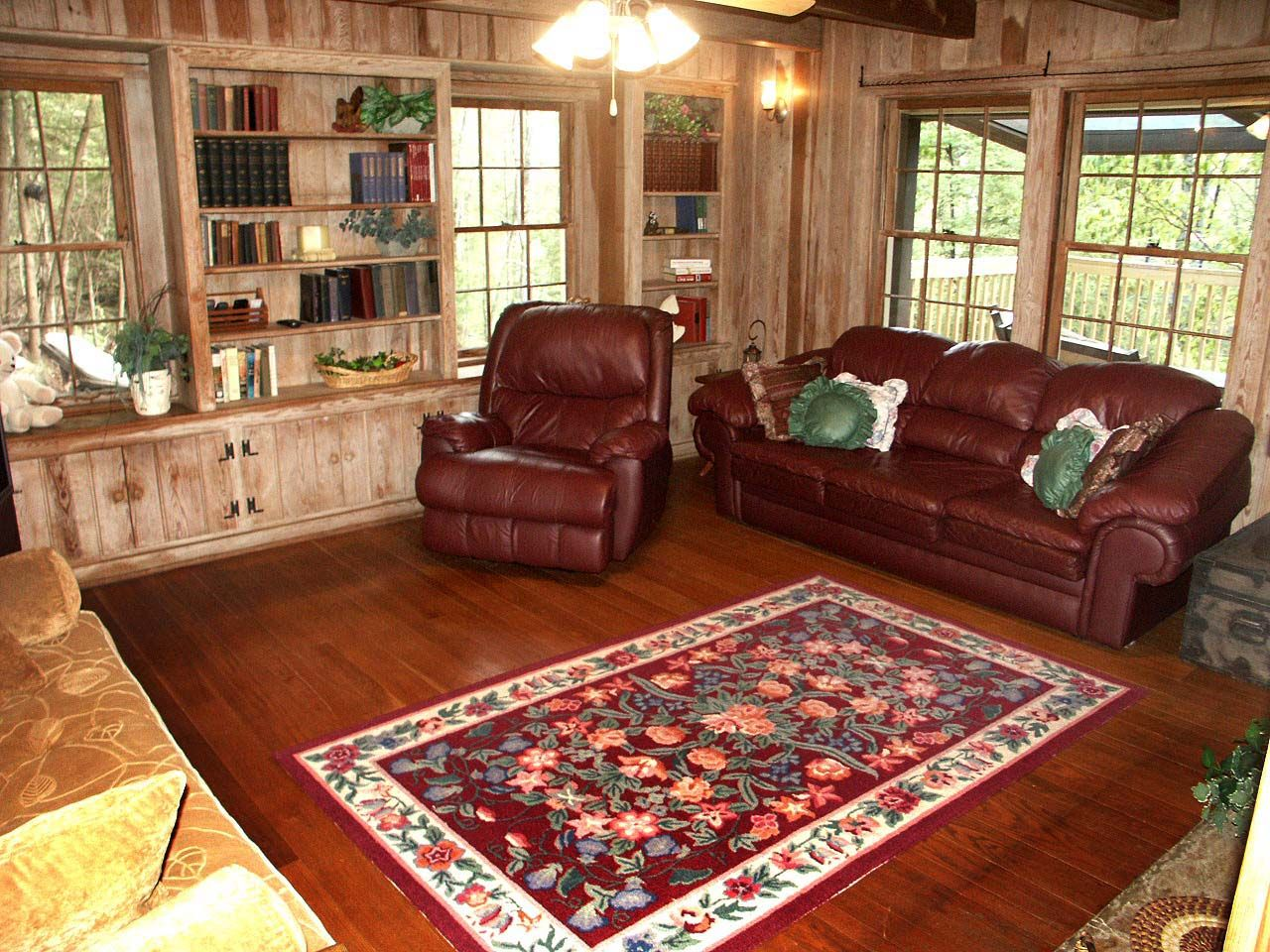 One Room Cabin Decorating Room Sofa And Rugs Also