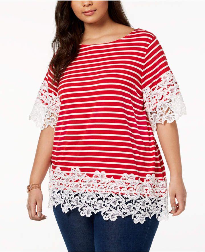 5fefec0372c  ad Tommy Hilfiger Plus Size Striped Lace-Trim Top