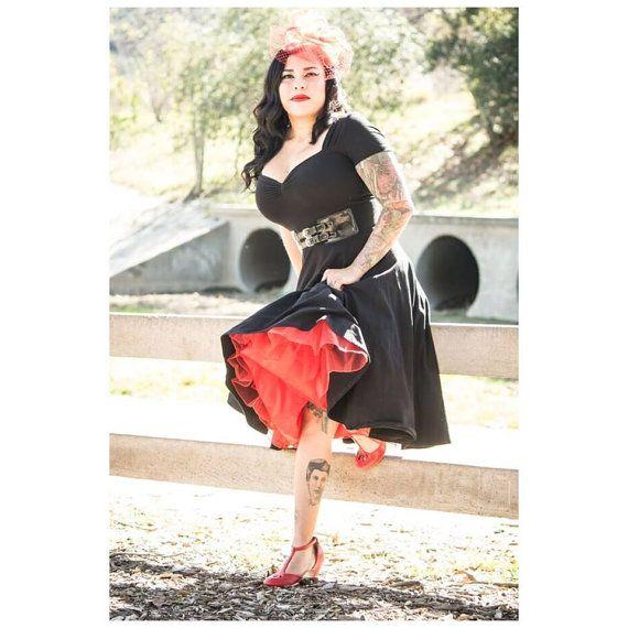 4a2123451b59e6 Black Retro Pin Up CHERI BRIDESMAID Dress, 40s 50s Style Punk Rock Prom  Swing Dress (just the dress! no petticoat)