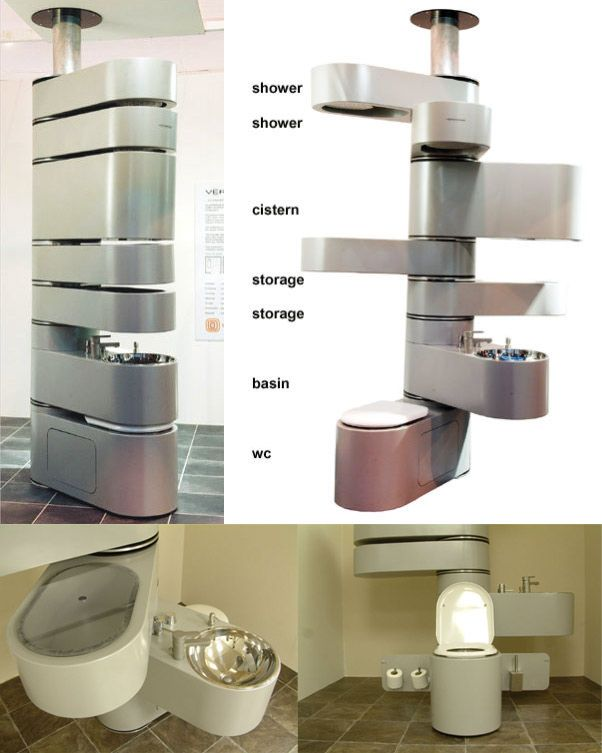 Here is a radical way to conserve space in the bathroom, infact it is more like a vertical micro bathroom.
