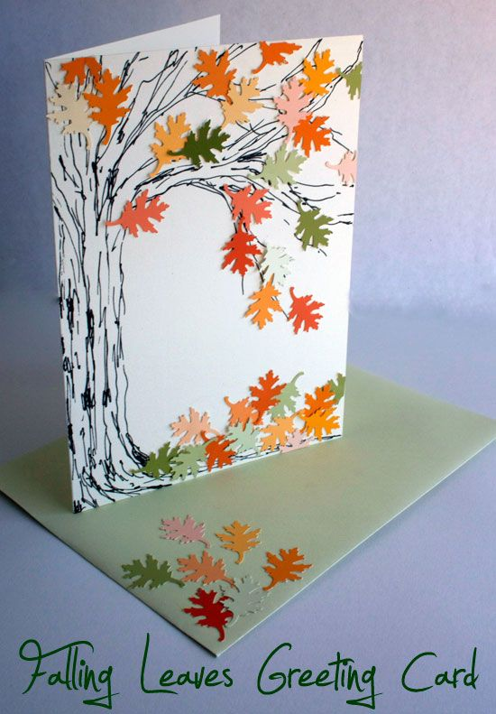 Falling leaves greeting card | Punch, Greeting card and Thanksgiving