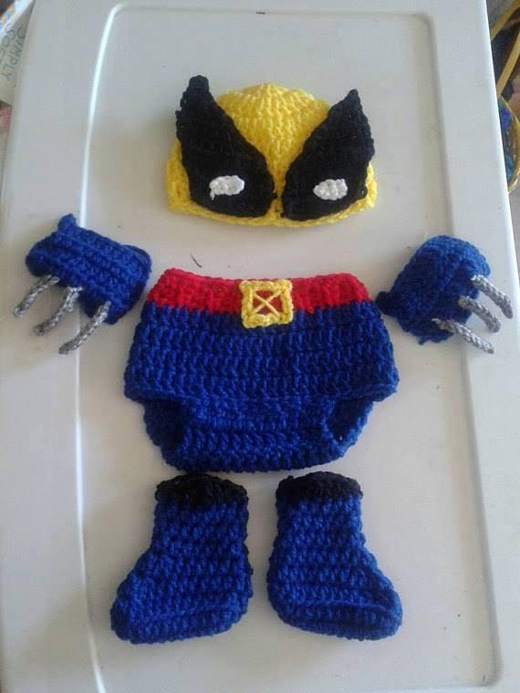 0f17e1a017f0f8 Includes hat, diaper cover, claw finger gloves, and booties. Crochet  Wolverine Inspired baby costume Xmen baby costume