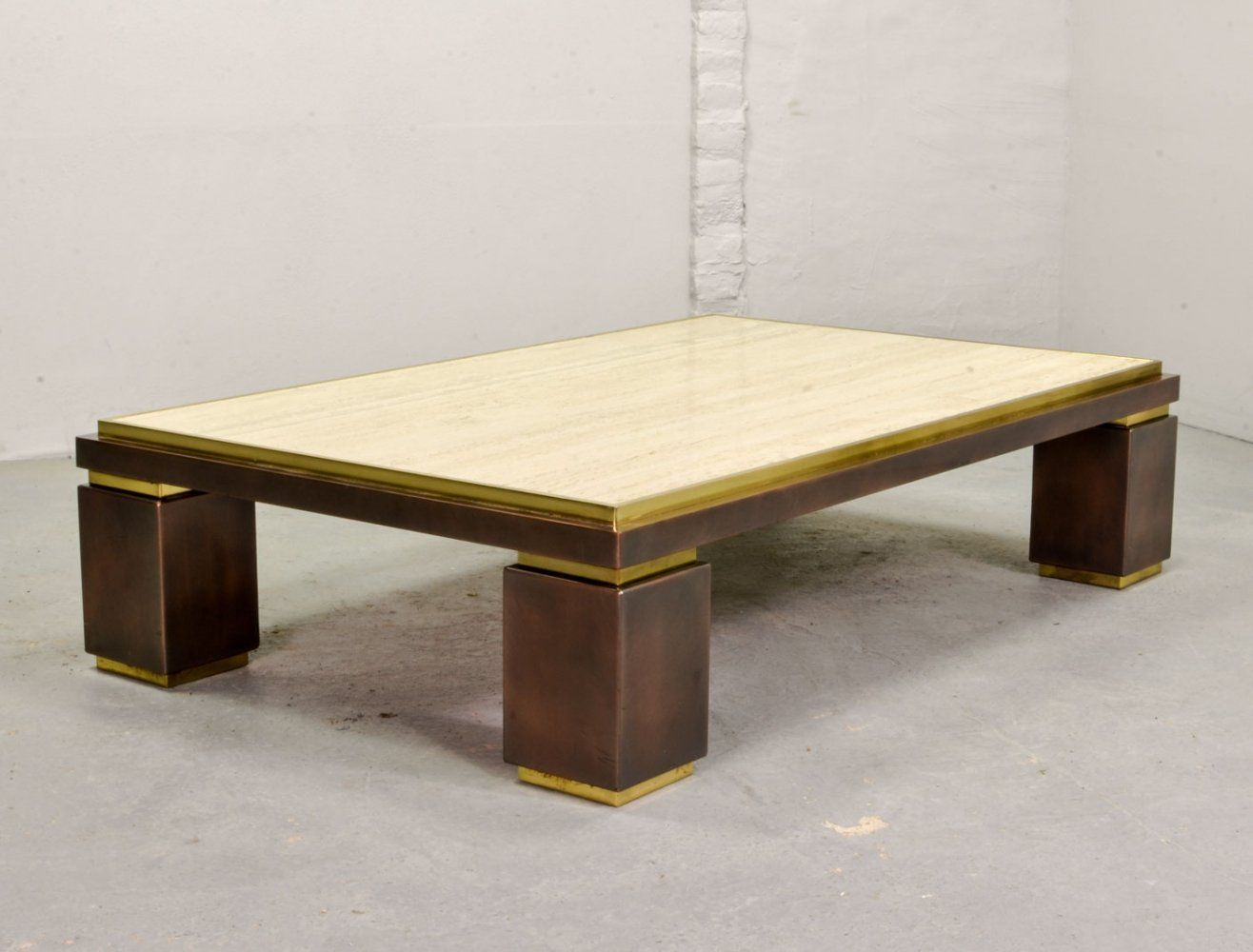 For Sale Large Travertine Dewulf Selection Coffee Table By Belgo Chrome 1970s