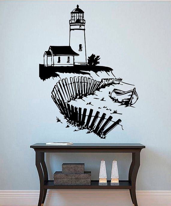 Lighthouse Wall Art Silhouette Seascape Decal Home Nautical ...