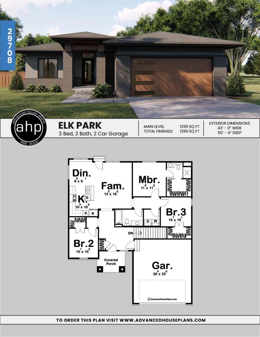 1 Story Modern Prairie House Plan Elk Park House Plans South Africa Porch House Plans Single Storey House Plans