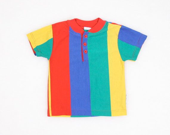 3349c3179c82 Vintage Toddler T Shirt Rainbow Striped Tshirt rimary Colord Red ...