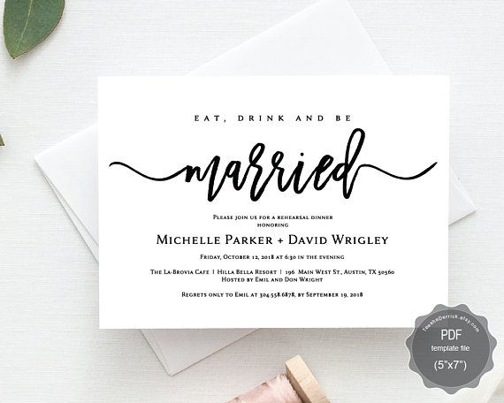 Eat drink and be married wedding rehearsal dinner invitation card eat drink and be married wedding rehearsal dinner invitation card pdf editable template stopboris Images