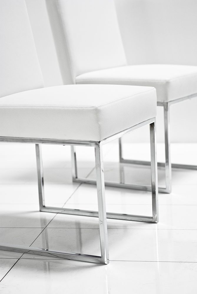 U Chrome White Matte Leather Dining Chair Roomservice