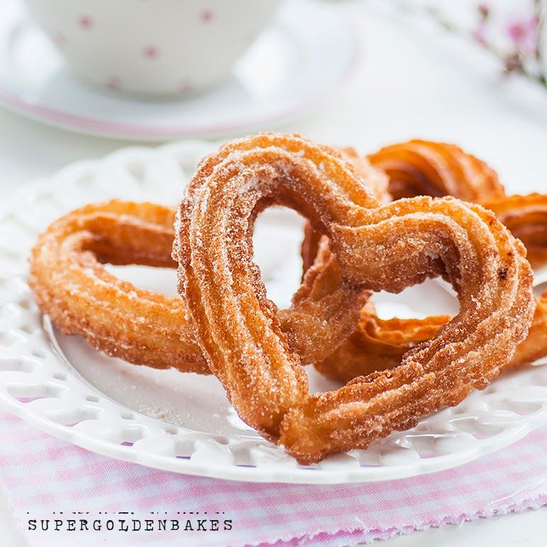 Happy Valentine's day with heart shaped churros supergolden bakes