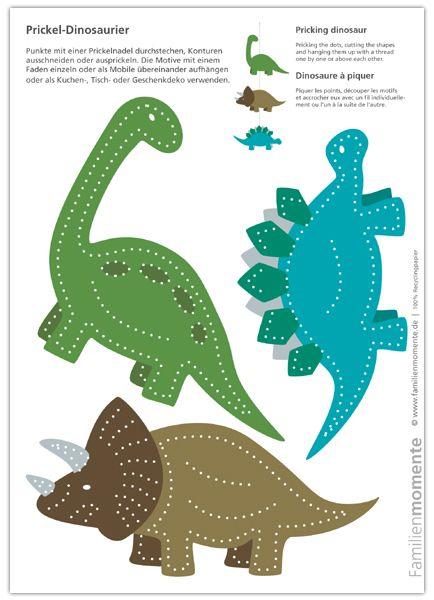 Dinosaurier zum Prickeln - Bastelbogen mit drei Dinosauriern - die Prickelmotive können für Kindergeburtstagseinladungen, als Caketopper oder für ein Mobile verwendet werden. #dinosaur