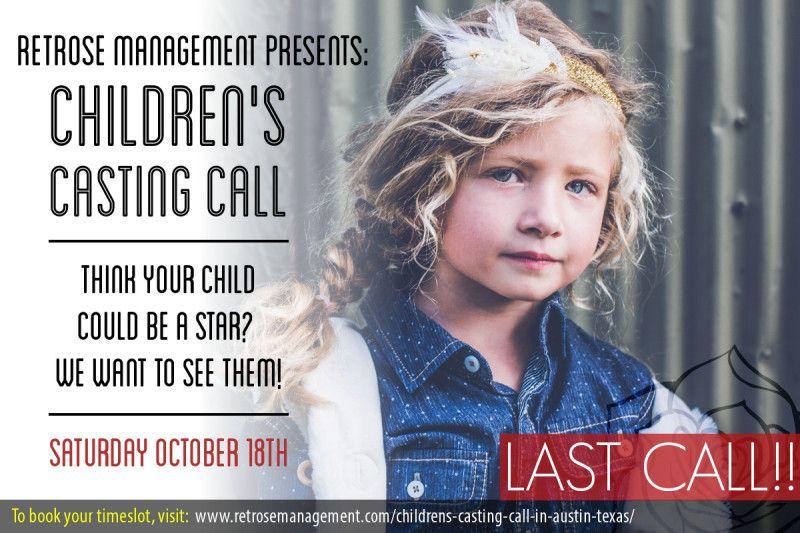 Casting Children in Austin Texas Oct. 18th