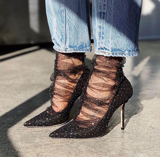 Details about  /Womens pointed toe satin ankle boots fashion black net Stiletto high heels shoes