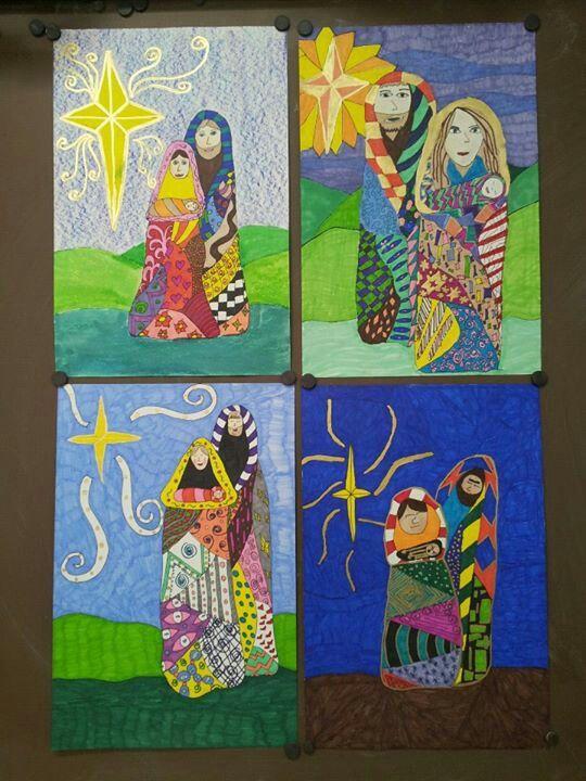 Klimpt Inspired Holy Family 5th Grade Art Elementary