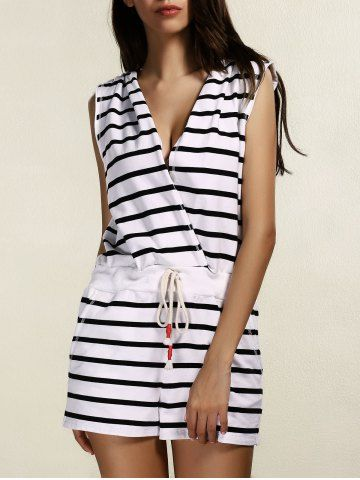cb667b751fc Striped Hooded Cover Up Romper For Women