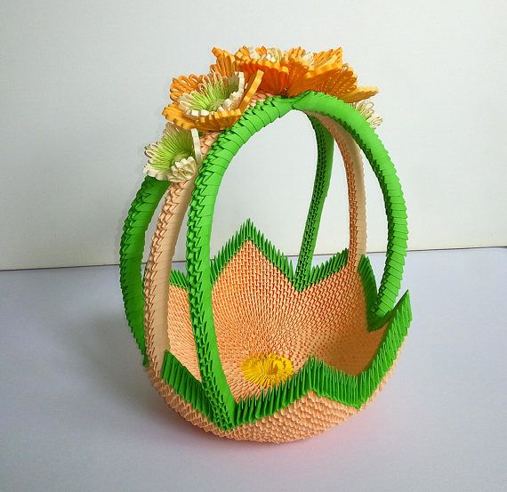 3D Origami Basket Handmade Gift For Candy And