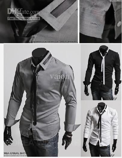 Unique 2 IN 1(shirt   Tie ) Men's Long Sleeve Shirts Cotton Lapel ...