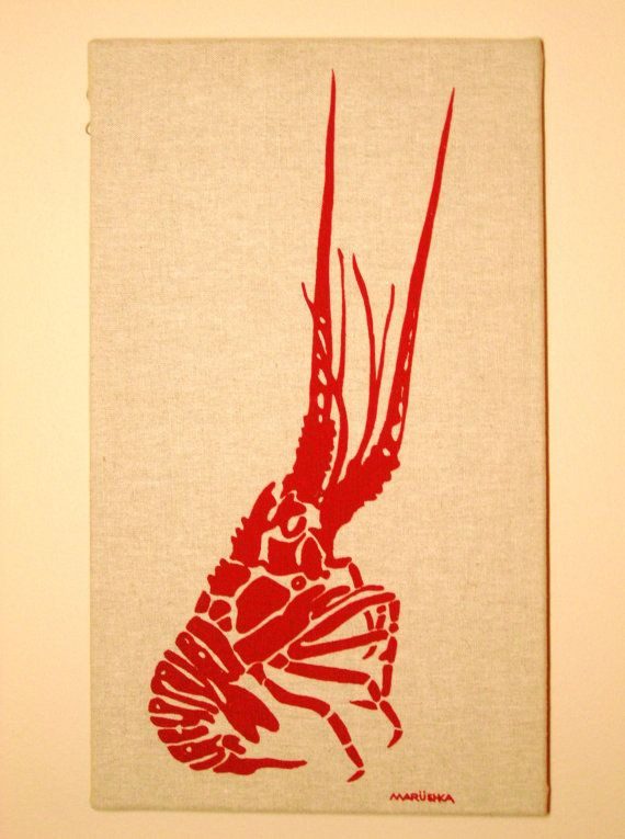 Marushka Screen Printed Fabric Wall Art Lobster | cool stuff from ...