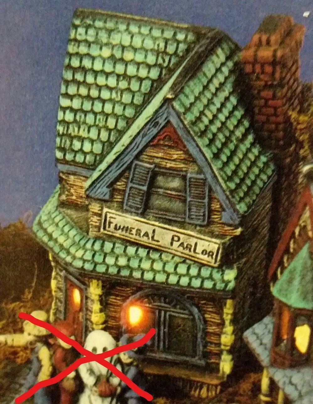 Unpainted Ceramic Bisque Funeral Parlor Halloween Haunted House