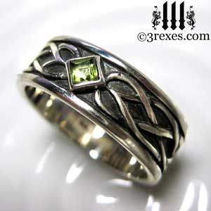 Celtic Knot Silver Soul Ring Gothic Green Peridot Stone Celtic