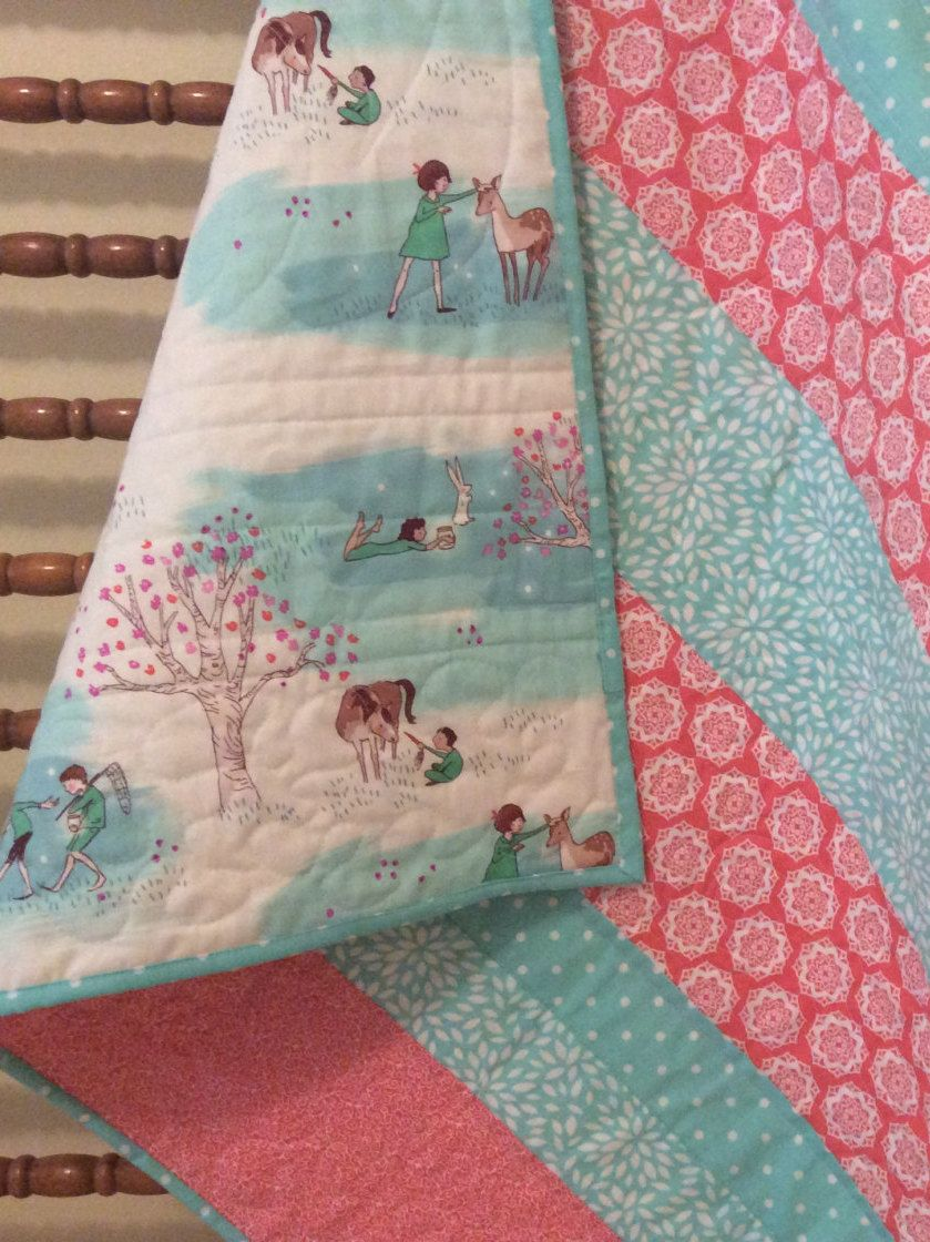 girl coral buck quilts girls antlers quilt deer aztec pin baby woodland