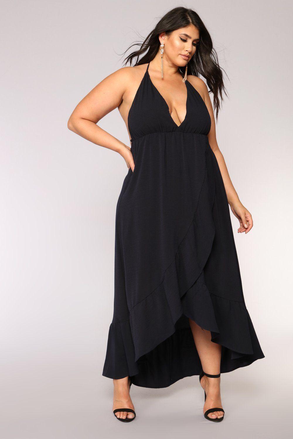 Doing Good Maxi Dress Navy Plus size black dresses