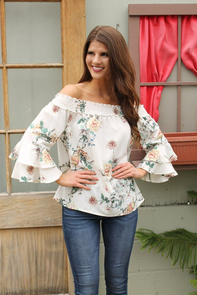 7652d0f6bd2330 White Floral Off Shoulder Bell Sleeve Top. This Floral Off Shoulder Blouse  is a beauty! Perfect date night or GNO style.  springstyle  floral
