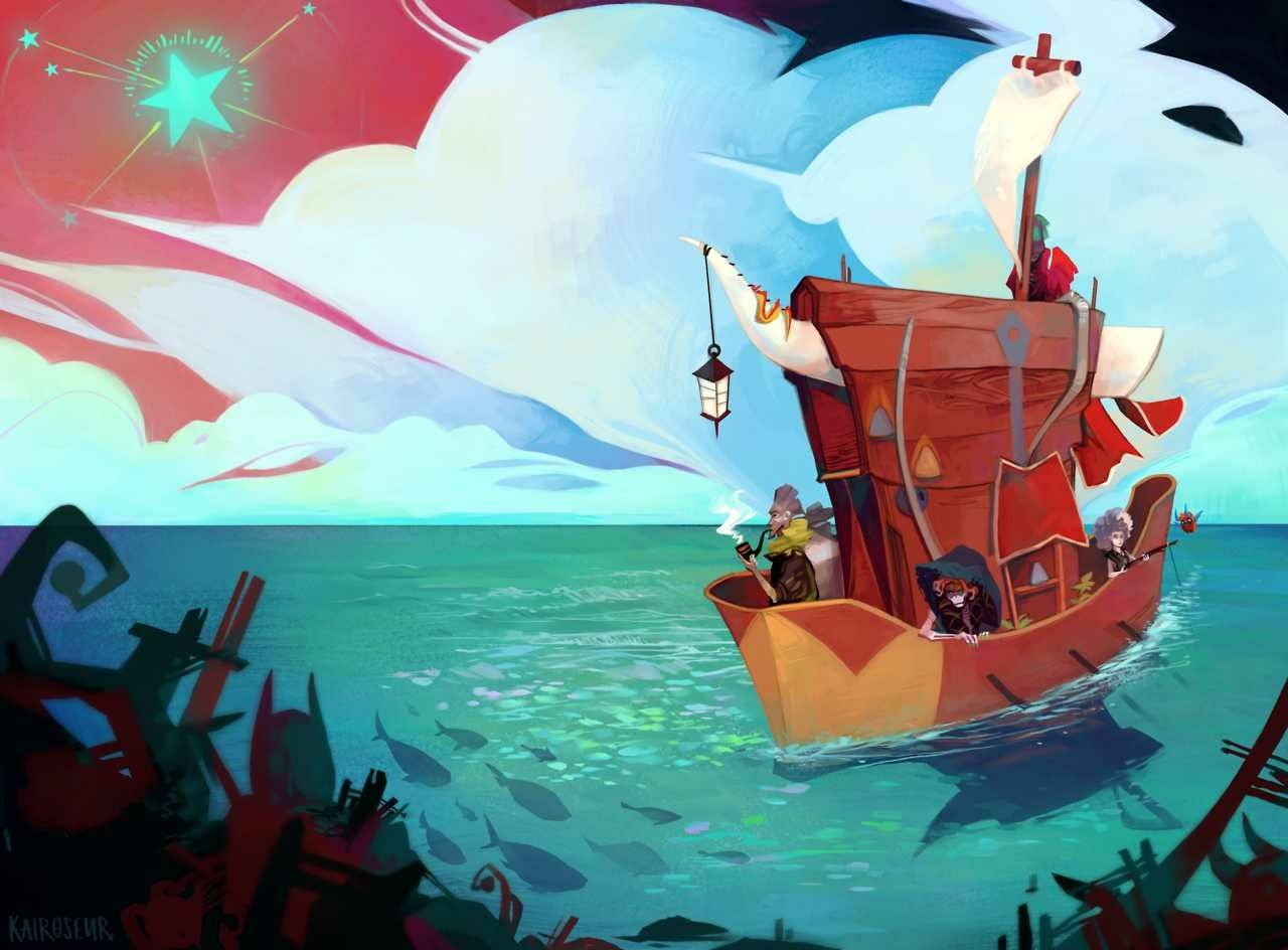 The blackwagon and crew from #Pyre | Gaming | Pyre game, Art