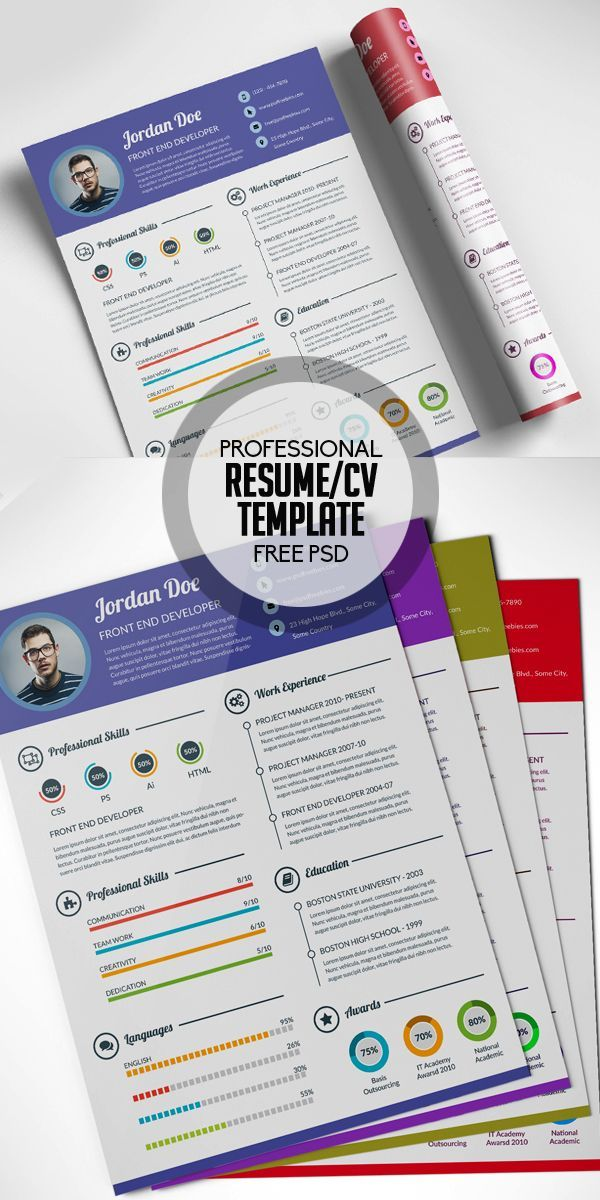 Free Professional #Resume #CV #Template Free PSD cv Pinterest - how to write a resume for a doctor job