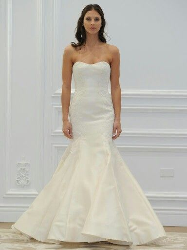 Strapless Mikado Silk Fit N Flare Bridal Gown Which Features Lace ...