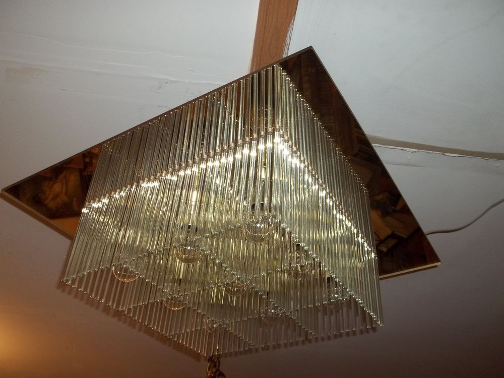 Triarch hollywood regency lucite glass rod chandelier 232 glass rods collectible ceiling light fixtures ebay audiocablefo