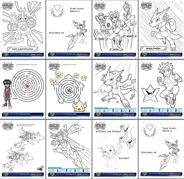 Digimon Fusion Joins Vortexx On Cw Free Activity Sheet Printables Digimon Fusion Digimon Fusion Colors