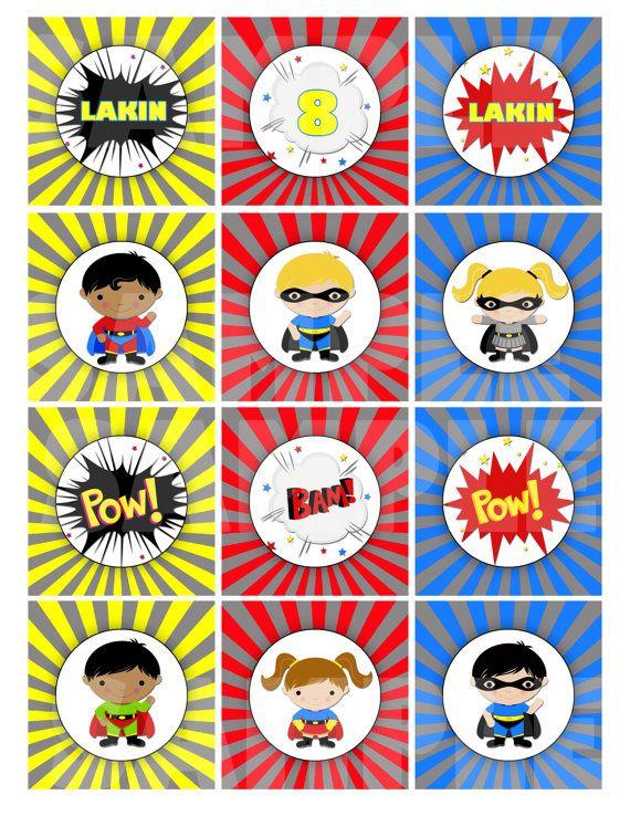 SuperHero Cupcake Toppers - Super Hero Cupcake Toppers - SuperHero Party Squares - Choose SuperHero, Font & Font Color - Printable