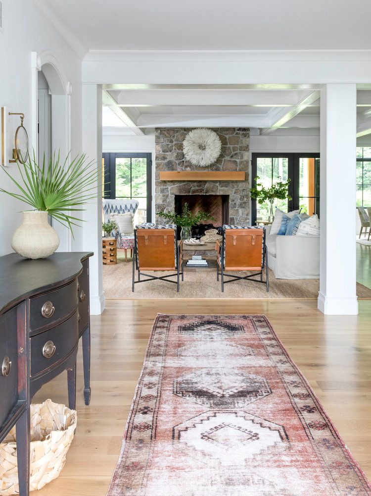 House Tour I Love This House S Modern Twist On Classic Traditional Style Family Room Stone Fireplace Farmhouse Family Rooms